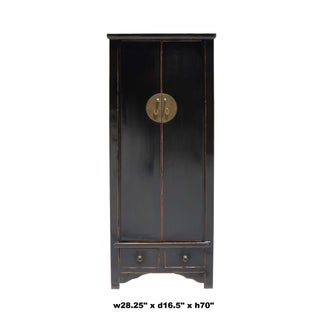 Chinese Oriental Distressed Black Lacquer Moonface Tall Storage Cabinet Preview