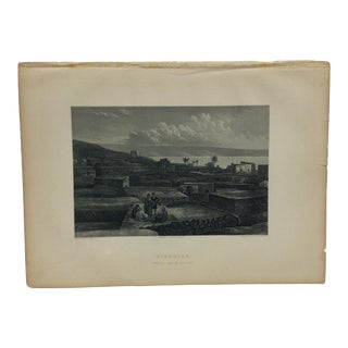 "Antique Original Engraving on Paper ""Tiberias""by J. Cramb Circa 1890 For Sale"