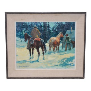 "Gary Carter ""Elk Camp at Hillguard"" Original Oil Painting C.1972 For Sale"