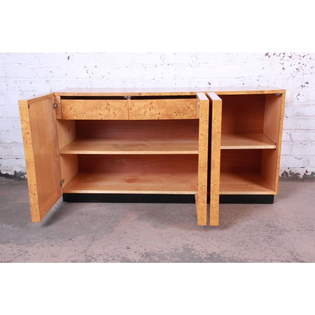 Milo Baughman Burled Olive Wood Sideboard Credenza, Newly Refinished For Sale In South Bend - Image 6 of 11
