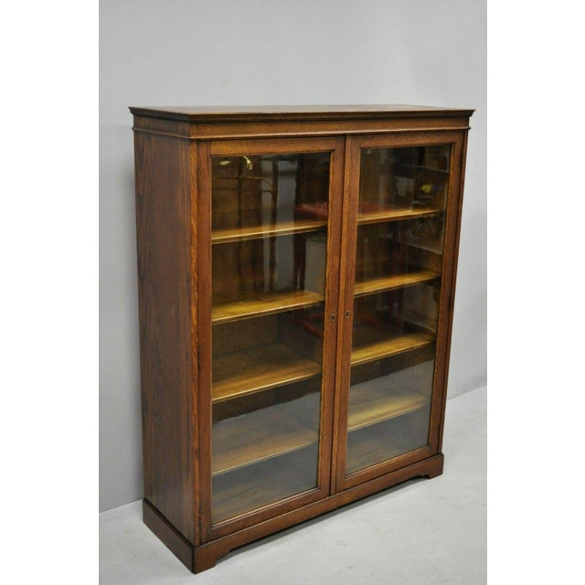 Low Bookcases With Doors: Antique Golden Oak Wood Glass Two Door Small Mission