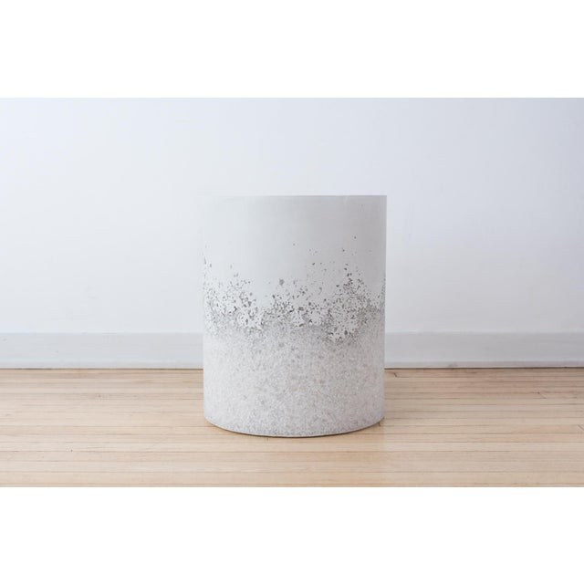 Hand Made White Opal and White Plaster Drum, Side table by Samuel Amoia For Sale In New York - Image 6 of 6