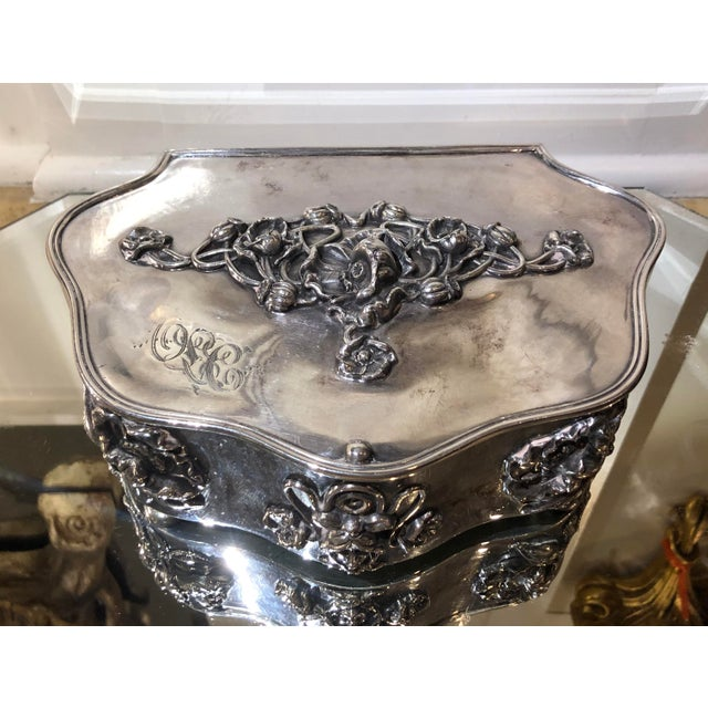 Antique Art Nouveau French Silverplate Jewelry Box W Pink Satin Interior - Minerva's Face - Monogrammed