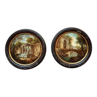 1960s Italian Round Oil Paintings on Brass, W/ 18th Century Decor - a Pair For Sale