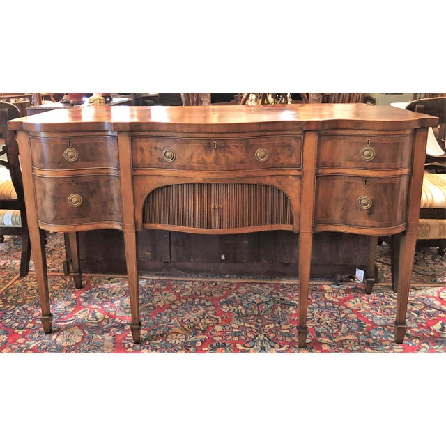Antique English Mahogany Sideboard With Serpentine Design, Circa 1820-1840. For Sale - Image 4 of 4