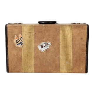 Vintage Striped Suitcase For Sale