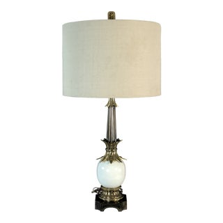 1970s Stiffel Brass & Ceramic Table Lamp For Sale