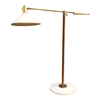 Leather Wrapped Brass and Metal Adjustable Floor Lamp