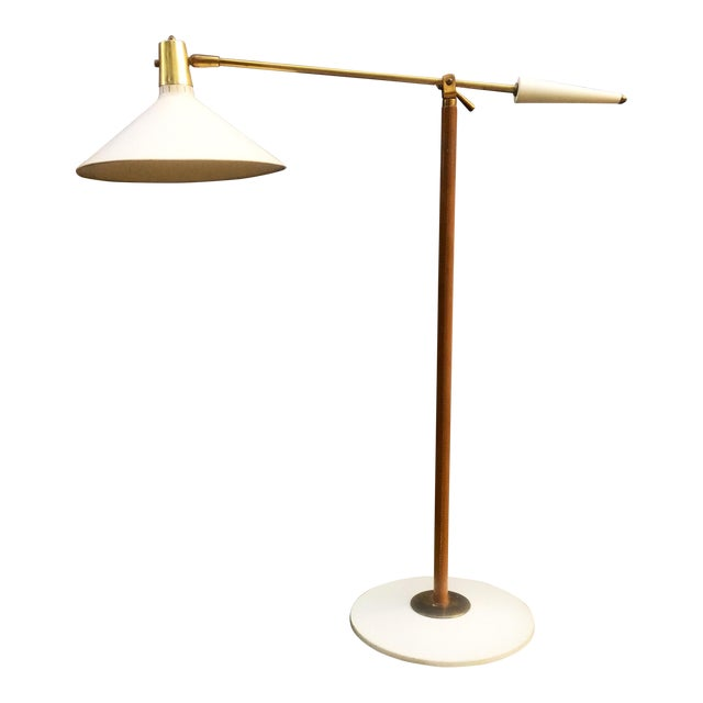Leather Wrapped Brass and Metal Adjustable Floor Lamp For Sale