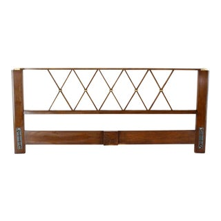 King-Size Headboard Bed 'X' Pattern Walnut and Brass For Sale