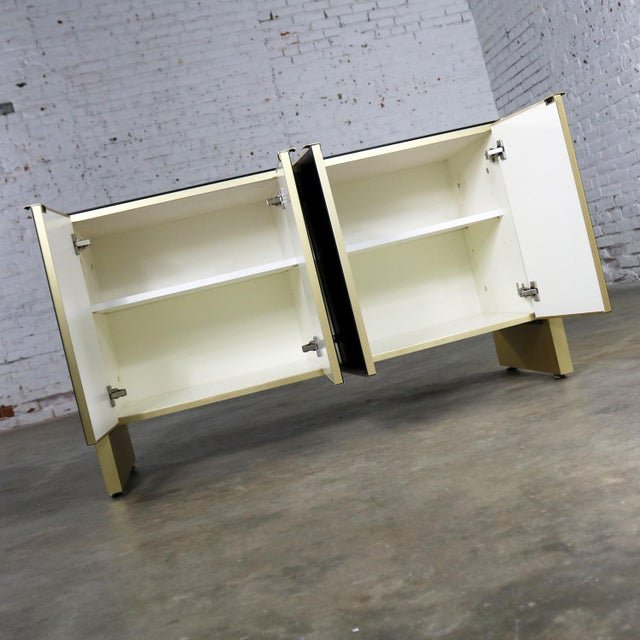 Ello Black Glass and Gold Anodized Aluminum Small Server Credenza Cabinet For Sale - Image 10 of 13