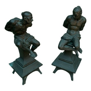 Renaissance Style Bronzes Adopted as Andirons - a Pair For Sale