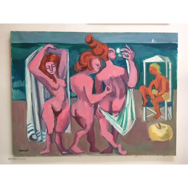 """George Conrand """"The Bathers"""" Oil on Canvas - Image 2 of 7"""