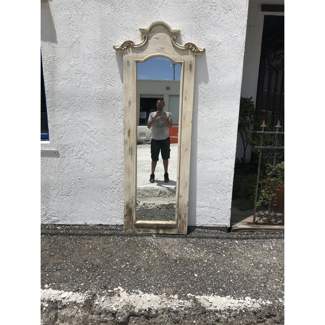 French Hand Crafted Tall Wooden Hall Mirror For Sale - Image 3 of 4