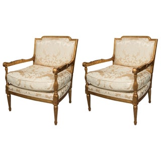 Mid-20th Century French Louis XVI Fauteuil Chairs - a Pair For Sale