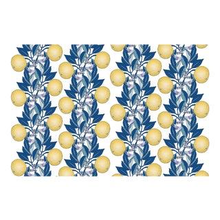 Orange Blossom Stripe Classic Blue Citron Linen Cotton Fabric 3yds For Sale