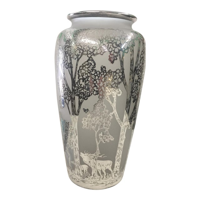 Large Antique Silver Overlay Scenic Vase For Sale