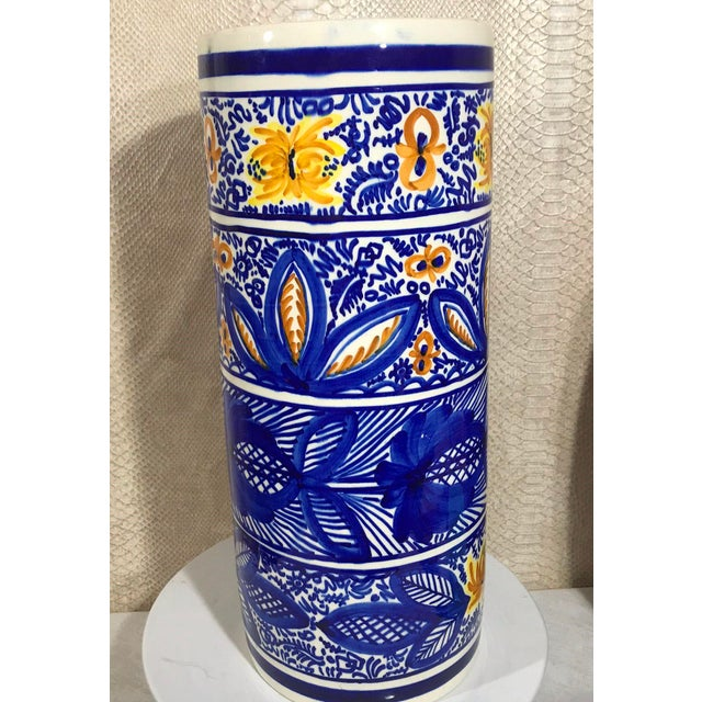20th Century Boho Chic Hand Painted Spanish Umbrella Stand / Holder Floor Vase For Sale - Image 4 of 6