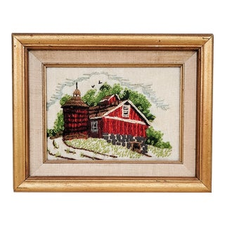 Mid-Century Framed Embroidery Art For Sale