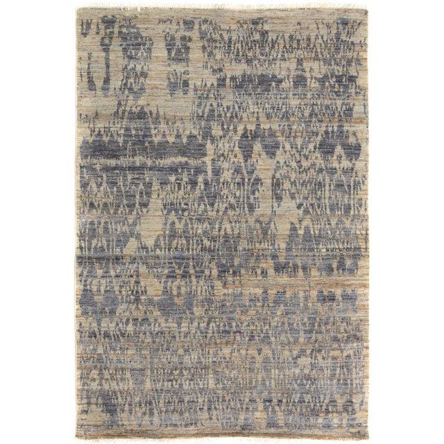 Blue Kafkaz Peshawar Crysta Gray & Blue Wool Rug - 4'1 X 6'3 For Sale - Image 8 of 8