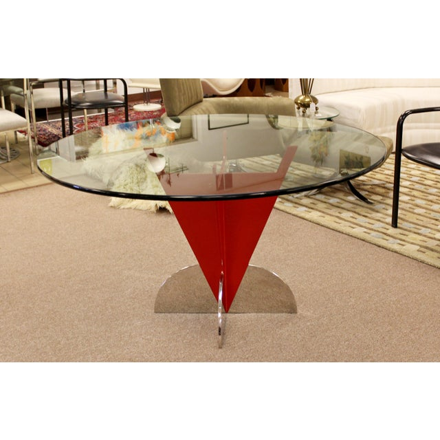 Contemporary Contemporary Modern Memphis Ettore Sotsass Style Red Iron Glass Dining Table For Sale - Image 3 of 9