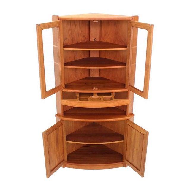 High Quality Heavy Built Solid Teak Danish Modern Corner Cabinet