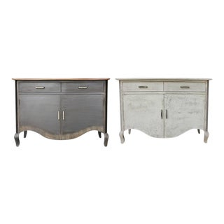 Shabby Chic Raylen Rustic Two Drawer Cabinets - a Pair For Sale