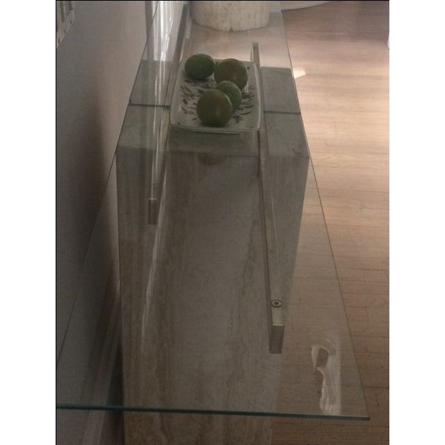 Mid-Century Modern Travertine Console Table & Glass Top - Image 6 of 11