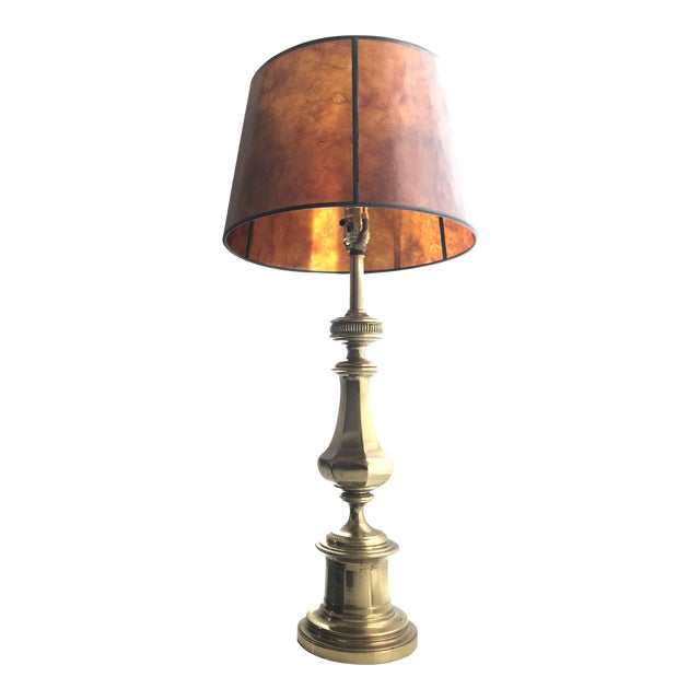 Vintage Brass Lamp With Pottery Barn Mica Shade For Sale
