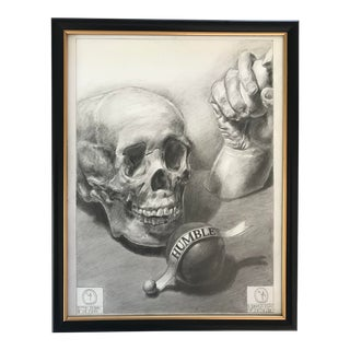 Vanitas Theme Classical Still Life Drawing, Framed For Sale