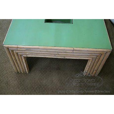 Brown Vintage Art Deco Rattan Bamboo Coffee Table For Sale - Image 8 of 13