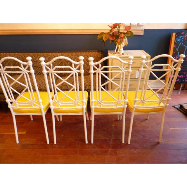 Faux Bamboo Regency Chippendale Dining Chairs - Set of 4 - Image 8 of 11
