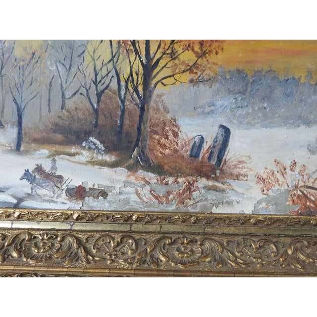 Shabby Chic Antique Rustic Sunset Winter Scene Distressed Painting For Sale - Image 3 of 5