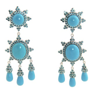 Joan Rivers Faux Turquoise Cabochon Rhinestone Dangle Runway Earrings For Sale