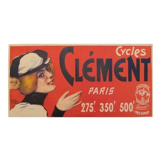 1890 Vintage French Cycles Clement Paris (Red Woman) For Sale