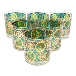 Georges Briard Green & Turquoise Rocks Glasses - Set of 6