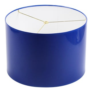 Large Cobalt Blue High Gloss Drum Lamp Shade For Sale