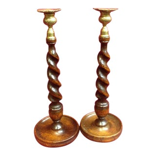 Antique English Barley Twist Oak & Brass Candle Sticks - A Pair