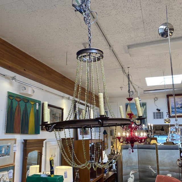 1940s Mid 20th Century 1940's French Six Light Chandelier For Sale - Image 5 of 13