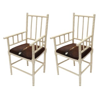 Cowhide Upholstered Spool Armchairs - a Pair For Sale