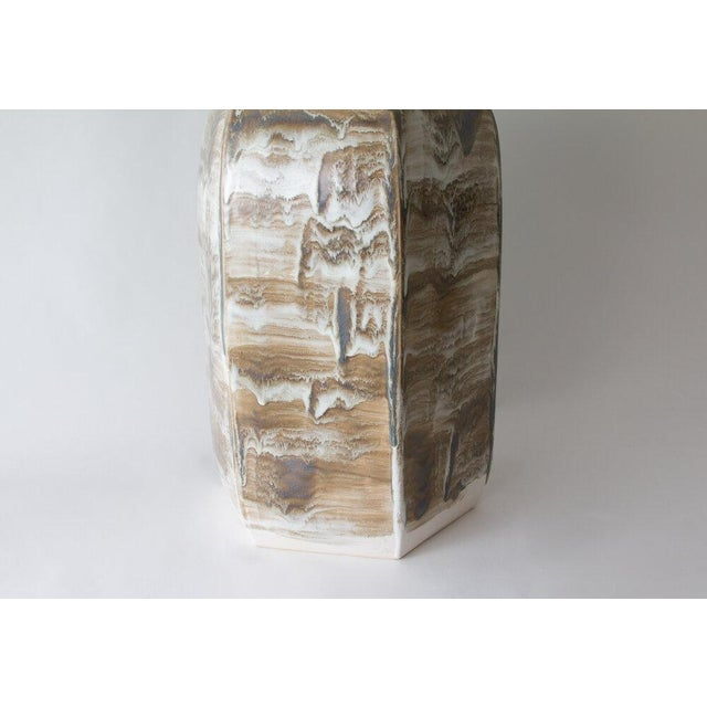 Contemporary Paul Schneider Ceramic Hexagonal Stool in Drip Brushed #6188 Glaze For Sale - Image 3 of 4