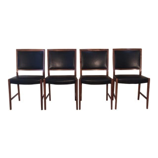 1970s Foster McDavid Walnut & Black Leather Dining Chairs - Set of 4