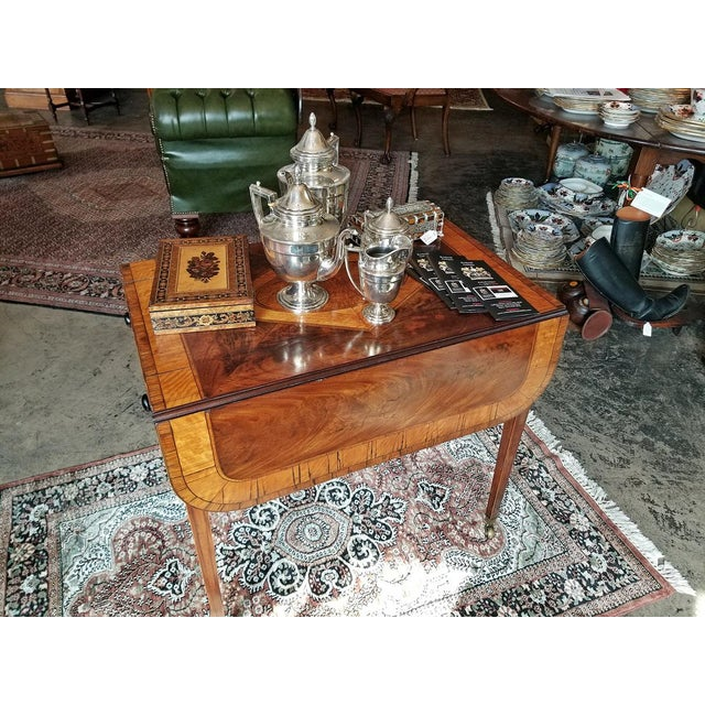 GLORIOUS AND VERY RARE Mahogany and satinwood Sheraton Pembroke Table with STUNNING patina. Classic Sheraton design, top...