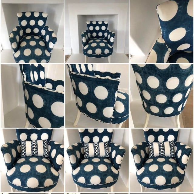 1920s Les Indiennes Blue Reverse Dot Occasional Chair For Sale - Image 5 of 6