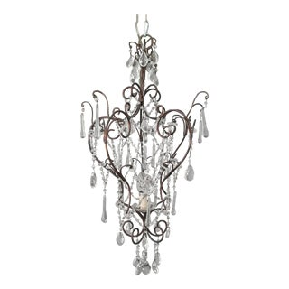 Antique Iron Crystal Chandelier