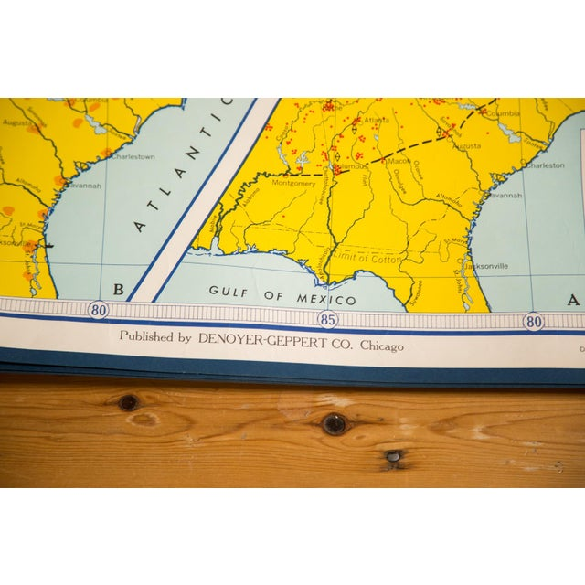 Vintage 1967 edition Denoyer - Geppert Social Science Map. Sold with awesome handmade in USA walnut magnetic rod that fits...