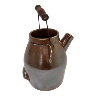 Antique American Primitive Stoneware Batter Jug Circa 1880s For Sale