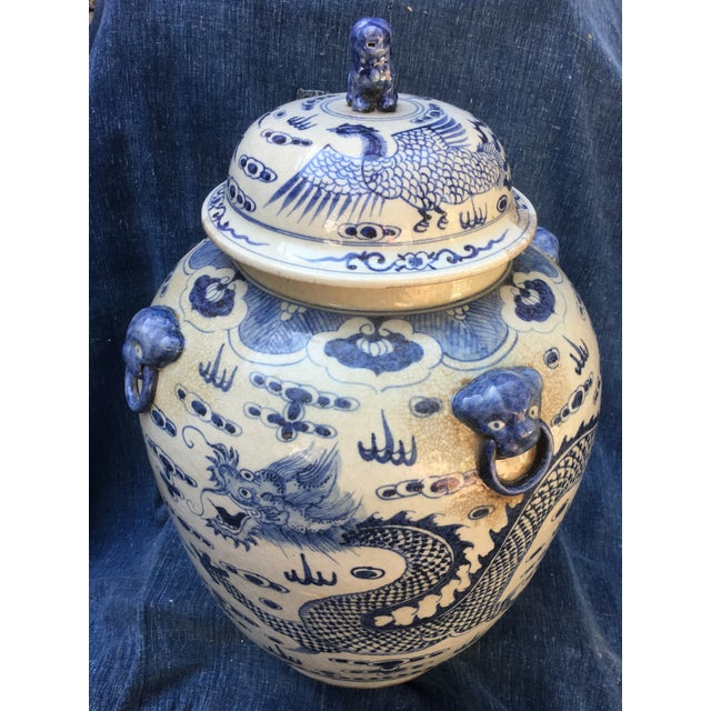 Asian Chinese Foo Dog/Dragon Lidded Urn For Sale - Image 3 of 9