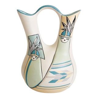 Vintage Southwestern Art Pottery Wedding Vase by Nandi For Sale