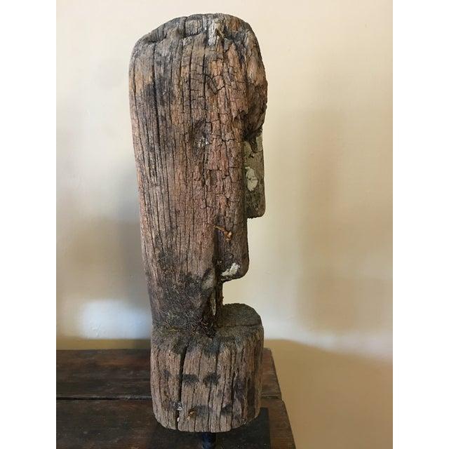 Vintage Primitive Wooden Bust - Image 5 of 6